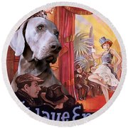 Weimaraner Art Canvas Print - Der Blaue Engel Movie Poster Round Beach Towel