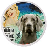 Weimaraner Art Canvas Print - River Of No Return Movie Poster Round Beach Towel