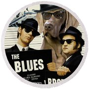 Weimaraner Art Canvas Print - The Blues Brothers Movie Poster Round Beach Towel