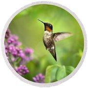 Welcome Home Hummingbird Round Beach Towel