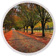 Welcome Home Bradford Pear Lined Drive-way Round Beach Towel