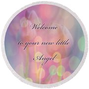 Welcome New Baby Greeting Card - Tulips Round Beach Towel