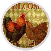 Welcome Rooster-61412 Round Beach Towel
