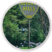Welcome To Beverly Hills Round Beach Towel