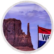 Welcome To Monument Valley Round Beach Towel