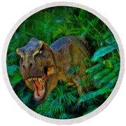 Welcome To My Park Tyrannosaurus Rex Round Beach Towel
