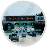Welcome To New Jersey Round Beach Towel