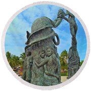 Welcome To Playa Del Carmen Mexico Round Beach Towel