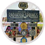Welcome To Radiator Springs Round Beach Towel