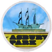 Welcome To The Asbury Park Boardwalk Round Beach Towel