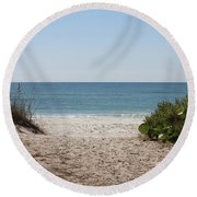 Welcome To The Beach Round Beach Towel by Carol Groenen