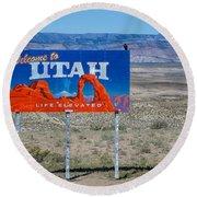 Welcome To Utah Round Beach Towel