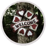 Welcome With Love Round Beach Towel