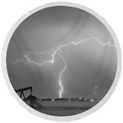 Weld County Dacona Oil Fields Lightning Thunderstorm Bwsc Round Beach Towel by James BO  Insogna