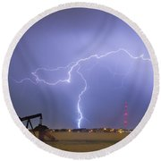 Weld County Dacona Oil Fields Lightning Thunderstorm Round Beach Towel