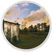 Old Well House And Golden Clouds Round Beach Towel