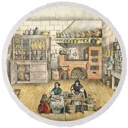 Well Stocked Rustic Kitchen Round Beach Towel