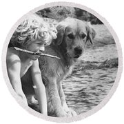 Well Trained Boy Round Beach Towel