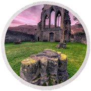 Welsh Abbey  Round Beach Towel
