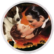 Welsh Corgi Cardigan Art Canvas Print - Gone With The Wind Movie Poster Round Beach Towel