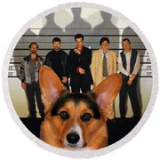Welsh Corgi Pembroke Art Canvas Print - The Usual Suspects Movie Poster Round Beach Towel