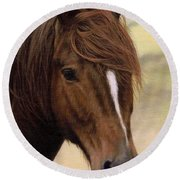 Welsh Pony Painting Round Beach Towel