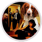Welsh Springer Spaniel Art Canvas Print - Pulp Fiction Movie Poster Round Beach Towel
