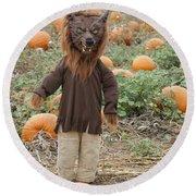 Werewolf In The Pumpkin Patch Round Beach Towel