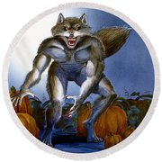 Werewolf With Pumpkins Round Beach Towel