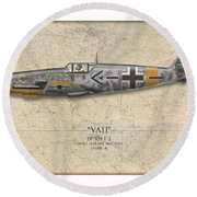 Werner Molders Messerschmitt Bf-109 - Map Background Round Beach Towel