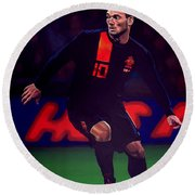 Wesley Sneijder  Round Beach Towel by Paul Meijering