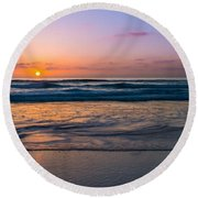 West Coast Sunset Cool Tones Round Beach Towel