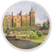 West Front And Gardens Of Hatfield Round Beach Towel