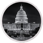 West Front Of The National Capitol Bw Round Beach Towel