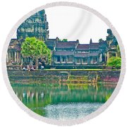West Gallery From Across Moat In Angkor Wat In Angkor Wat Archeological Park Near Siem Reap-cambodia Round Beach Towel