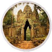 West Gate To Angkor Thom Round Beach Towel