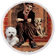 West Highland White Terrier Art Canvas Print - A Dogs Life Movie Poster Round Beach Towel