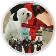 West Highland White Terrier Art Canvas Print - All About Eve Movie Poster Round Beach Towel