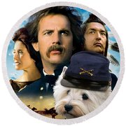 West Highland White Terrier Art Canvas Print - Dances With Wolves Movie Poster Round Beach Towel
