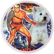 West Highland White Terrier Art Canvas Print - Spartacus Movie Poster Round Beach Towel