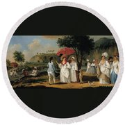 West Indian Landscape With Figures Promenading Before A Stream Round Beach Towel