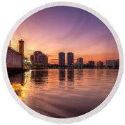 West Palm Beach Skyline At Dusk Round Beach Towel