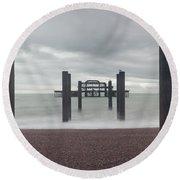 West Pier Skeleton In Brighton Round Beach Towel