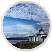 West Point Lighthouse II Round Beach Towel