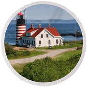 West Quaddy Lighthouse Round Beach Towel