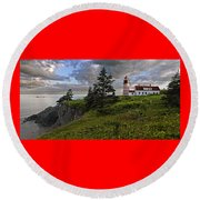 West Quoddy Head Lighthouse Panorama Round Beach Towel by Marty Saccone