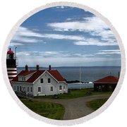 West Quoddy Lighthouse Round Beach Towel