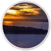 West Seattle Soaring Sunset Round Beach Towel