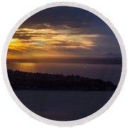 West Seattle Sunset Sunstar Round Beach Towel