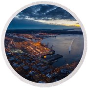West Seattle Water Taxi Round Beach Towel